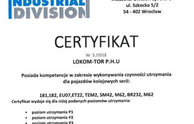 "Certyfikat ""INDUSTRIAL DIVISION"""
